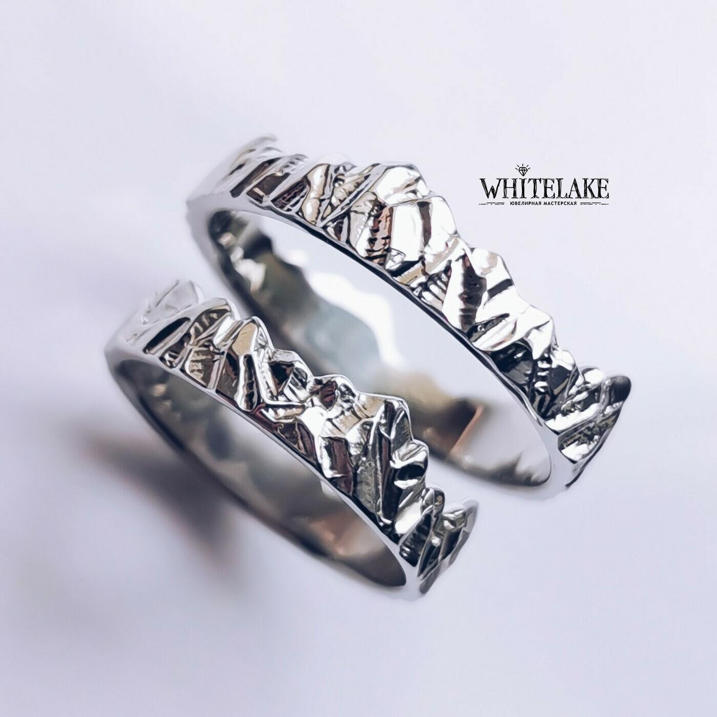 Авторские обручальные кольца Горы - купить в ювелирной мастерской Whitelake